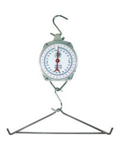 Hanging Scale, 330 lb Capacity, Displays Weight in Pounds and Kilograms, with Two Steel Hooks