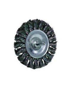 """Wire Wheel, 3-1/4"""" Diameter, .014 Knotted Wire, 1/4"""" Round Stem, 25,000 RPM Max"""