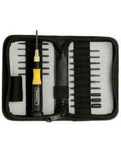 General Tools 18-Piece Ultratech Precision Screwdriver Set with 17 Extended Shaft Blades, Handle, in Zippered Case