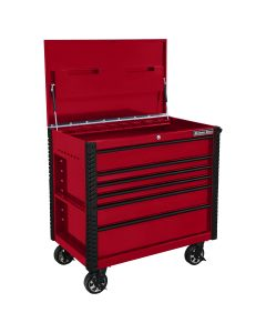 41 in. 6-Drawer Tool Cart w/Bumpers, Red w/Black-Drawer Pulls