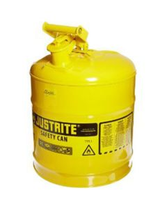 Type 1 Steel Safety Can For Flammables, 5 Gallon, Stainless Steel Flame Arrester, Self-Close Lid, Yellow