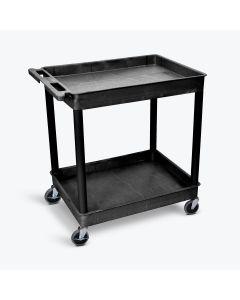 Luxor 2-Shelf Plastic Utility Cart w/ 400 lb. Capacity