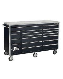 72 in. 18-Drawer Triple Bank Roller Cabinet, Black