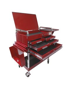 Sunex Tools Deluxe Service Cart w/ Locking Top, 4-Drawers and Extension Storage, Red