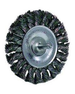 """Wire Wheel, 4"""" Diameter, .014 Knotted Wire, 1/4"""" Round Stem, 20,000 RPM Max"""