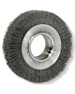 "Bench Grinder Wire Wheel, 8"" Diameter, .014 Crimped Wire, Medium Face, 2"" Arbor, 4,500 RPM Max"
