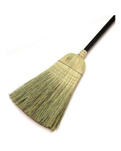 Warehouse Upright Corn Broom, with Wire Band and 38 in. Long Wooden Handle