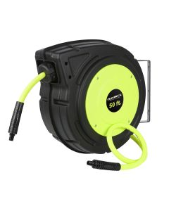 "Flexzilla Enclosed Plastic Retractable Air Hose Reel, 3/8"" x 50'"