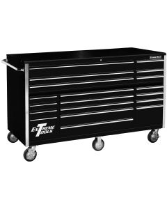 """72"""" 19 Drawer Roller Cabinet, Black"""