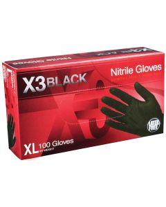 XL X3 Powder Free, Textured, Black Nitrile