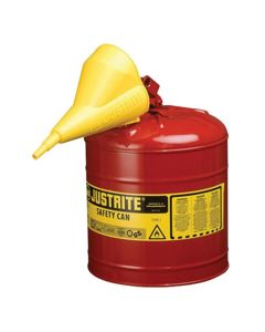 Red Metal Safety Can, Type 1, Five Gallon, With Yellow Plastic Funnel, for Gasoline