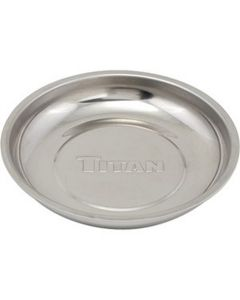 Titan Stainless Steel Magnetic Tray, 5-7/8 in. Diameter Round with Non-Marring Rubber Covered Base