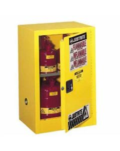 Justrite 891200 Sure-Grip EX Compac Flammable Safety Cabinet, Capacity 12 Gallons, 1 Shelf, 1 Manual Close Door, Yellow