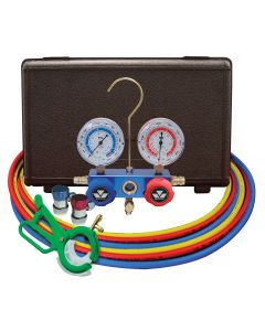 Dual R134a/R12 2-way Manifold Gauge Set  with FREE 85530 3-in-1 Side Can Tap