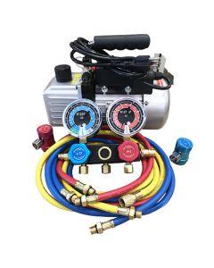R1234yf Vacuum Pump & Manifold Set w/ Vacuum Pump FJC6930 1/3 HP; 5.0 CFM