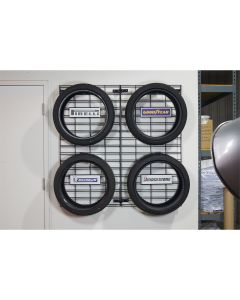 The Wall Grid Tire Display with Hooks Complete Set