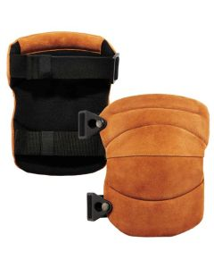 230LTR Brown Leather Knee Pads - Wide Soft Cap