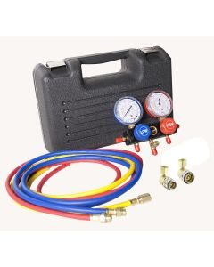 R134a Aluminum Block Manifold Gauge Set with Quick Couplers