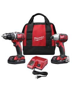 Milwaukee 2-Piece M18 Compact Lithium Ion Drill/Driver and Impact Wrench Combo w/ (2) Batteries Kit