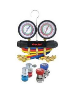 """Aluminum Block A/C Manifold Gauge Set, for R134a and HFO1234yf, 72"""" Hoses, Manual Couplers"""