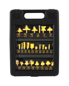 Router Bit Set, 24 Piece, Assorted Carbide Tipped Steel Bits, in Blow Molded Plastic Case