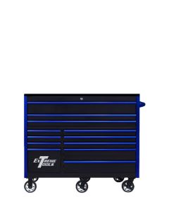 """RX Series 55"""" 12 Drawer 25"""" Deep Roller Cabinet - Black with Gloss Blue Handles and Trim  150 lb Slides  Mag Wheels"""