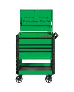 33 4-Drawer Deluxe Tool Cart w/Bumpers, Green w/Black Quick Release-Drawer Pulls