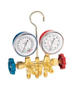 R134a Brass Manifold Gauge Set with Manual Couplers