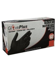 GlovePlus Powder Free BLACK Nitrile Gloves XL