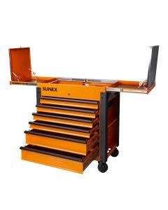 Sunex Tools 6-Drawer Slide Top Service Cart, Orange