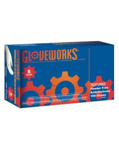 Gloveworks Powder Free Textured Latex Gloves, Small