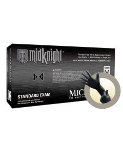 Microflex MidKnight MK-296 Nitrile Gloves - Disposable, Textured, Size Medium (Pack of 100)
