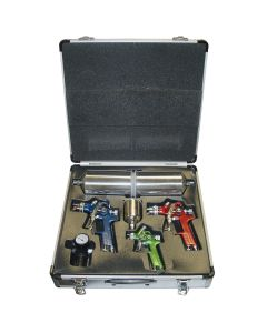 4 Piece HVLP Color-Coded Triple Set-Up Spray Gun Kit with Case