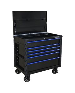 "41"" 6 Drawer Tool Cart w/Bumpers, Black w/Blue Drwr Pulls"