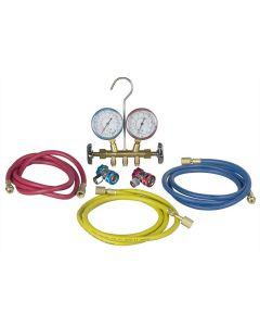 R134 Brass Manifold and Hose Set