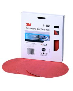 """3M Red Abrasive Stikit Disc Value Pack, 6"""", P320 Grit, 25 Per Pack"""