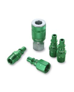 """ColorConnex Coupler and Plug Kit, Type B, 1/4"""" NPT, 1/4"""" Body, Green, 5-Piece"""