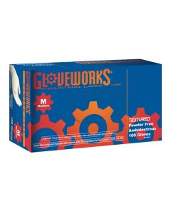 Gloveworks Powder Free Textured Latex Gloves, Medium