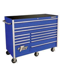 "Extreme Tools 55"" 12-Drawer Roller Cabinet, Blue"