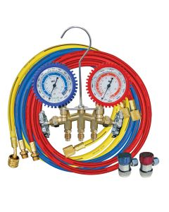 """Brass R134A 2 Way Manifold Gauge Set with 72"""" Hoses"""