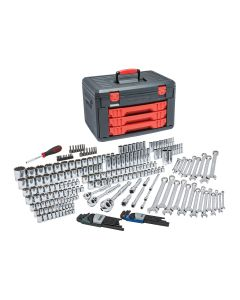 "239 Piece SAE/Metric Mechanic's Tool Set With 3 Drawer Case, 1/4"", 3/8"", and 1/2"""