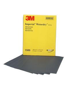 "3M Wetordry Sheet, 1500 Grit, 9"" x 11"" 50/box"