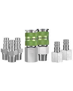 "Flexzilla Pro High Flow Coupler and Plug Kit, 3/8"" NPT, 1/4"" Body, 7-Piece"