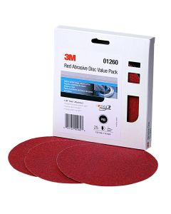 """3M Red Abrasive Stikit Disc Value Pack, 6"""", P80 Grit, 25 Per Pack"""