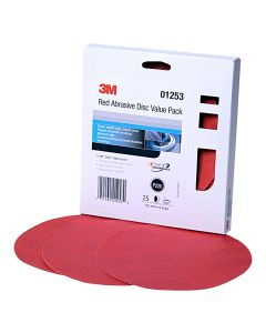 """3M Red Abrasive Stikit DiscValue Pack, 6"""", P220 Grit, 25 Per Pack"""