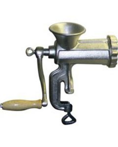 Hand Operated Meat Grinder, Cast Iron, Clamp Down Style, with Knife, 2 Plates, Sausage Funnel