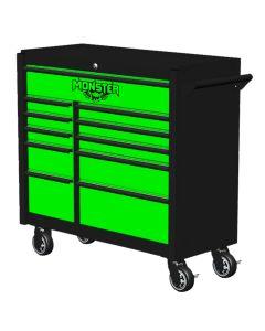 Monster Mobile? 41 in. 11-Drawer Roller Cabinet, Black-Green