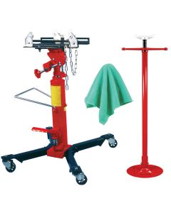 1/2 Ton Capacity Telescoping Transmission Jack With Bonus Under Hoist Stand and Detailing Cloths
