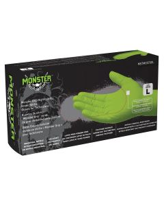 Monster Mobile? Grip High Visibility Green Nitrile Gloves, Large