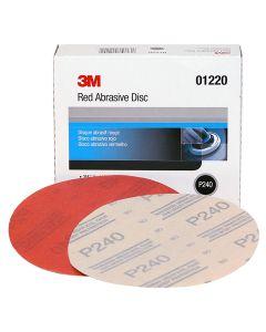 "3M Red Abrasive Hookit Disc, 6"", P240 Grit, 50 Per Box"